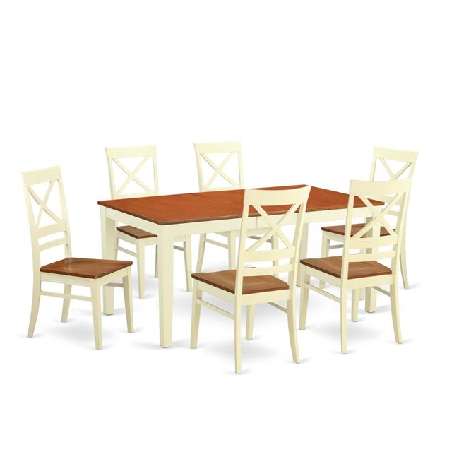East West Furniture NIQU7-WHI-W Wood Seat Dining Room Sets with 6 Kitchen Table & 6 Chairs, Buttermilk & Cherry - 7 Piece