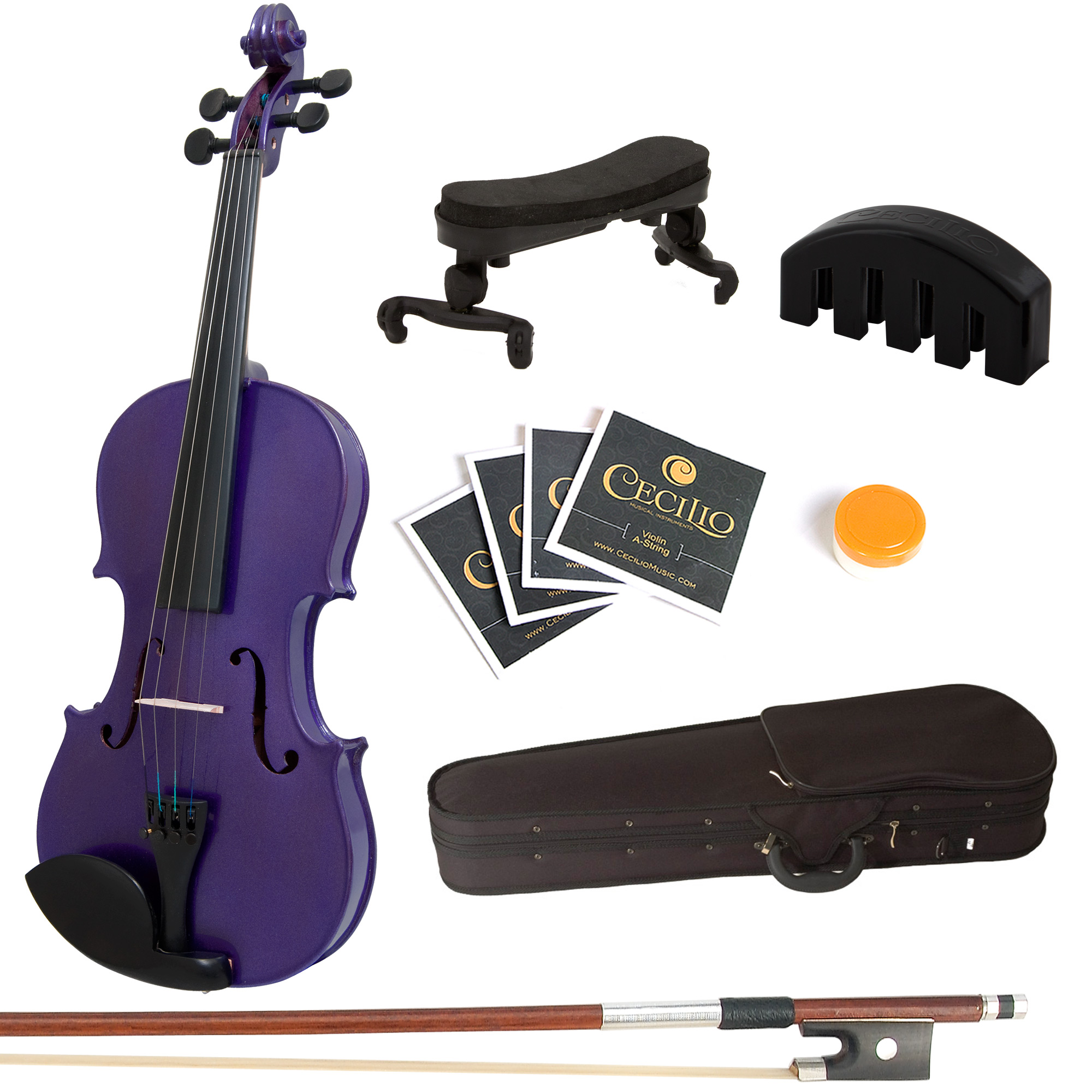 Mendini by Cecilio Full Size 4 4 MV-Purple Solid Wood Violin w  Shoulder Rest, Extra... by Cecilio Musical Instruments