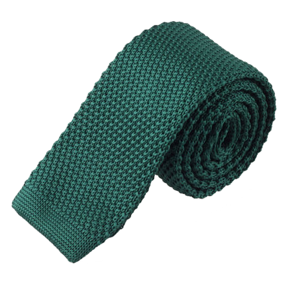 Coxeer Men's New Style Solid Color Knitting Tie Necktie for Wedding Party Business (Dark Green)