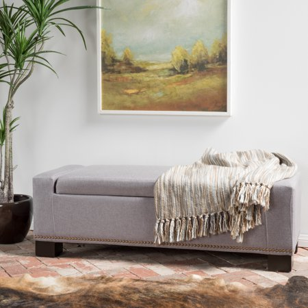 Fine Noble House Clayton Grey Fabric Storage Ottoman With Studs Bralicious Painted Fabric Chair Ideas Braliciousco