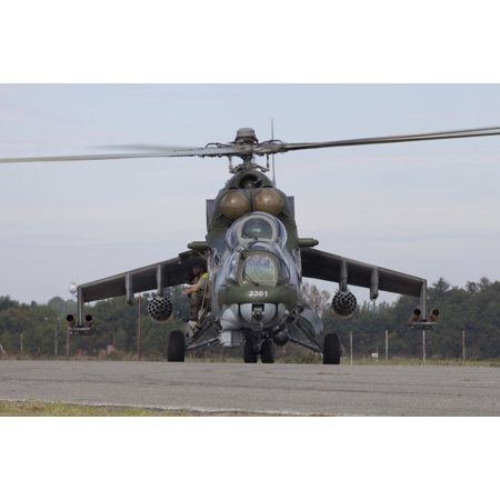 A Czech Air Force Mi-24 Hind gunship Canvas Art - Timm ZiegenthalerStocktrek Images (18 x