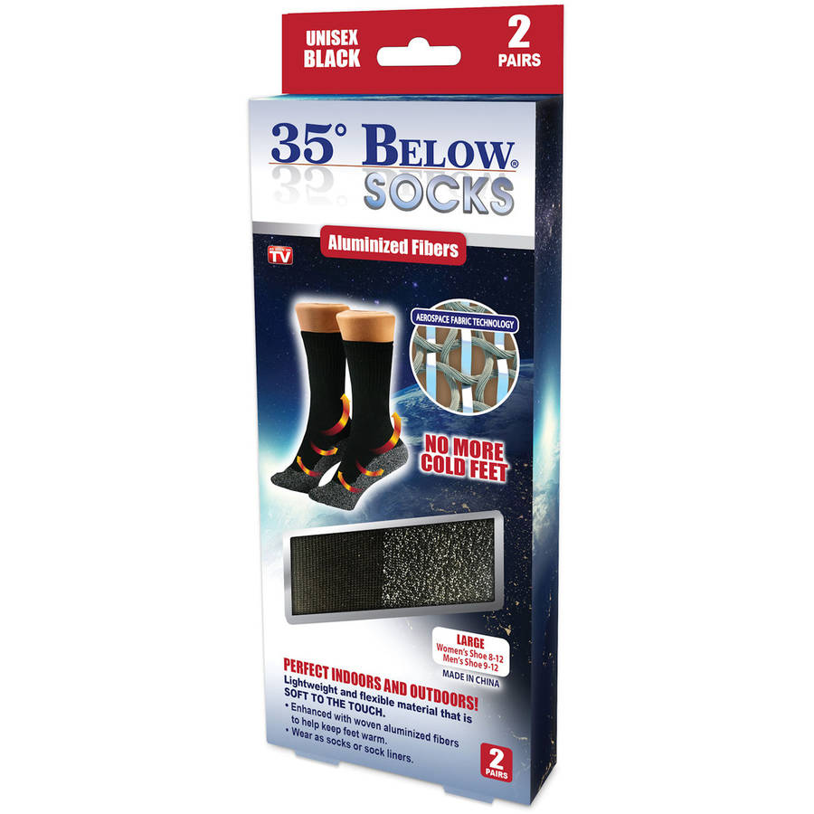As Seen on TV 35 Degree Below Socks, Black, Large