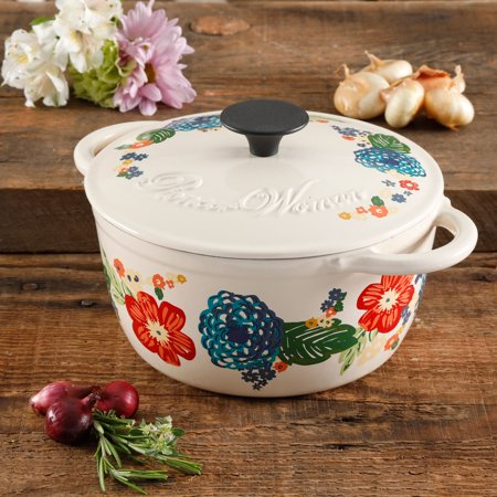 The Pioneer Woman Dazzling Dahlias 3 Quart Casserole with Lid Ceramic Oven Safe Casserole