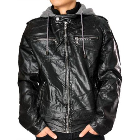 RNZ Premium Designer Men's Faux Leather Jacket - M7-Black-S