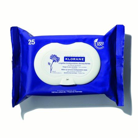Klorane Make-Up Remover Biodegradable Wipes with Soothing Cornflower, 25 Count (Cowgirl Makeup And Hair Ideas)