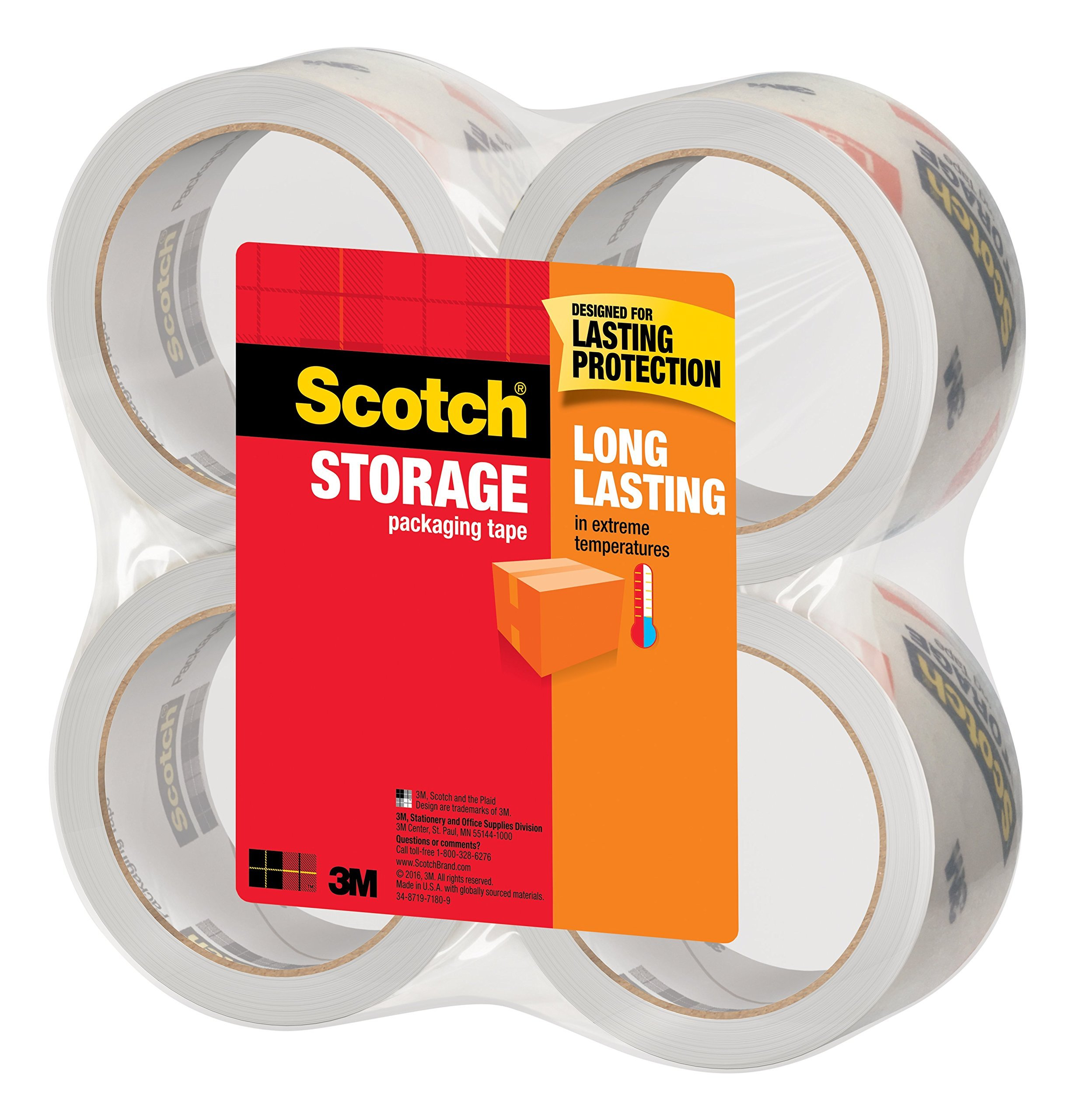 3650-6 6 Rolls New Long Lasting Storage Packaging Tape 1.88 Inches x 54.6 Yards