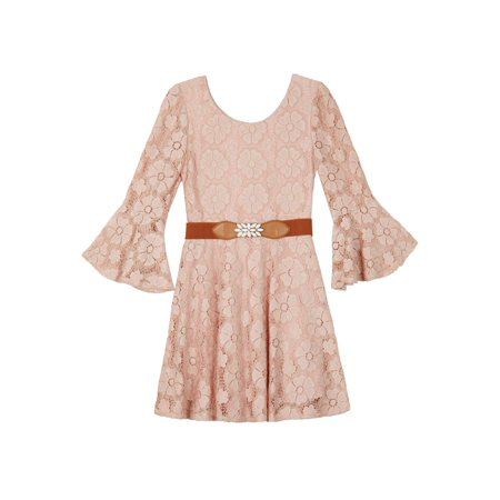 Lace Long Sleeve Dress with Belt (Big Girls)