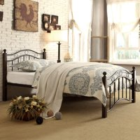 Weston Home Averny Metal Platform Bed - Black / Brown