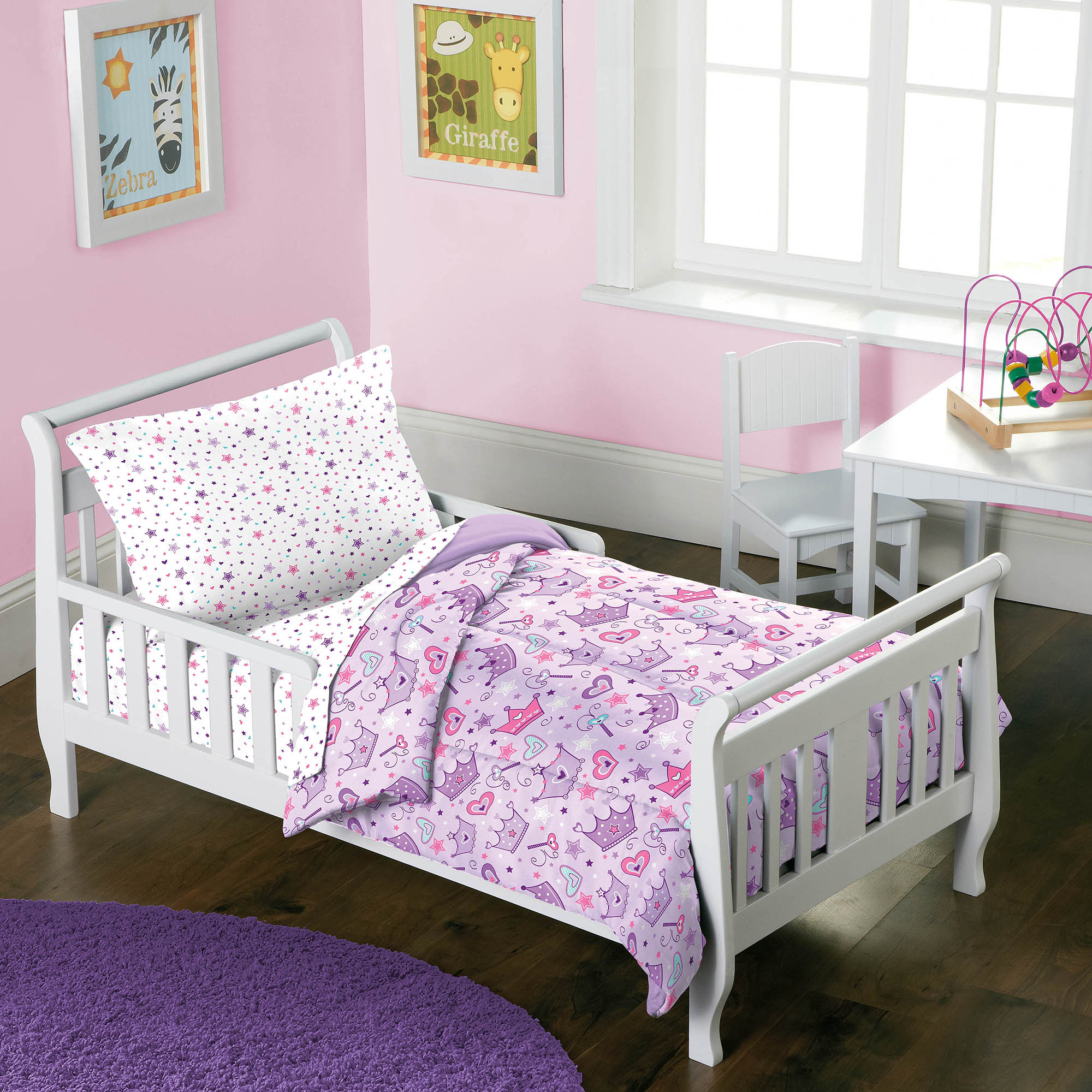 Dream Factory Stars & Crowns 4-Piece Toddler Bed in a Bag Bedding Set