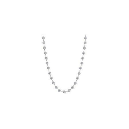 6CT Twenty Five Station Cubic Zirconia 14K White Gold Necklace - image 1 de 1