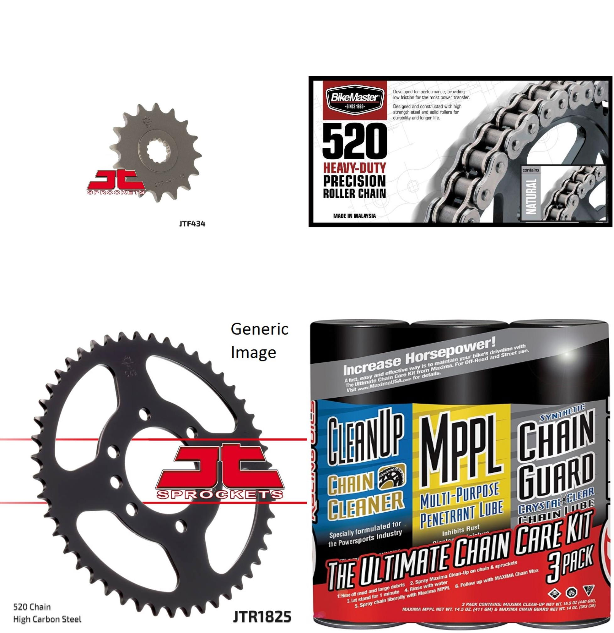 BIKEMASTER 520H Heavy-Duty Precision Roller Chain Natural with MAXIMA Wax, JT Front & Rear Sprocket Kit for Street SUZUKI GN400T 1980-1982