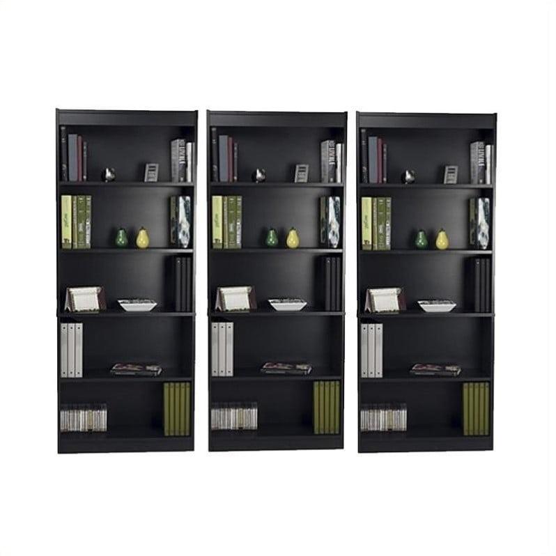 Bestar 5 Shelf Standard Wall Bookcase in Charcoal by