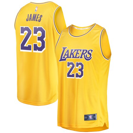 LeBron James Los Angeles Lakers Fanatics Branded 2018/19 Fast Break Replica Jersey Gold - Icon (Ryan Replica Jersey)