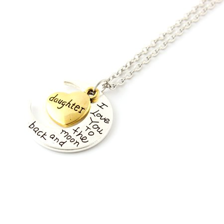 Fashion Jewelry I Love You Family Mom Birthday Gift Pendant Necklace for Women Girl - Daughter