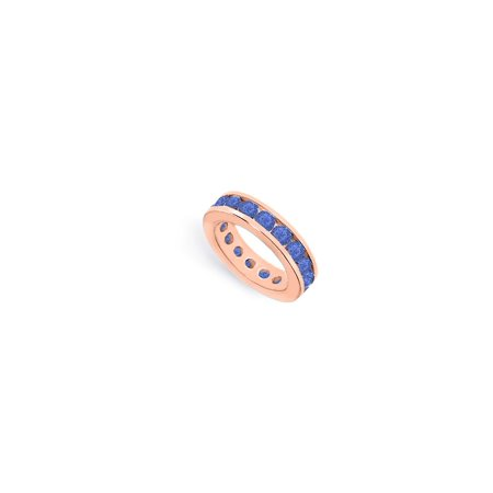5ct Sapphire - Created Sapphire Eternity Rings Stackable Band in Channel Set on 14K Rose Gold Vermeil 5ct tgw
