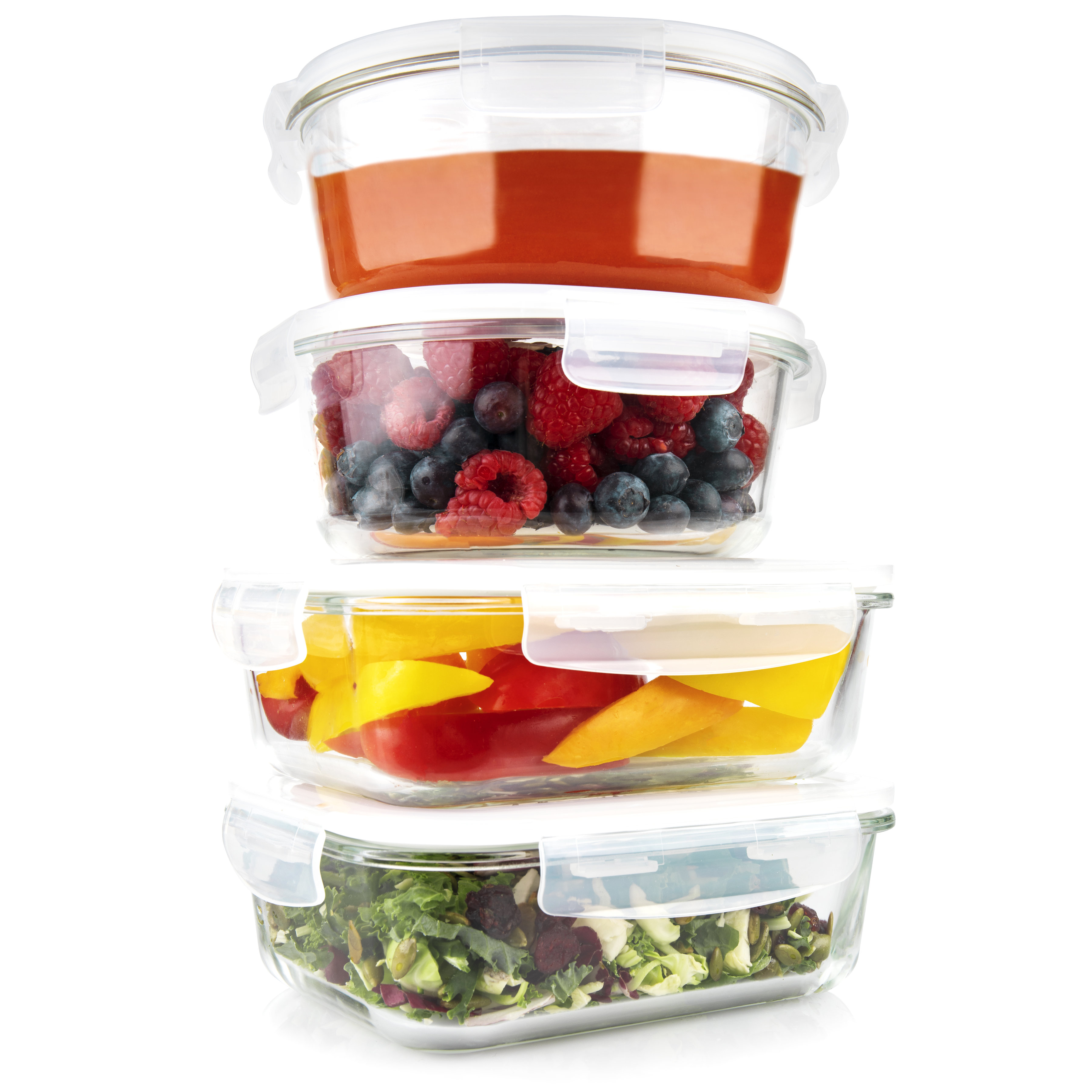 Glass Meal Prep Containers [4, 35 oz] - 2 Round & 2 Rectangle Food Storage Containers, Lunch Containers, Portion Control, Leakproof, BPA Free, Microwave, Oven, and Dishwasher Safe (lids off)