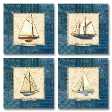 Sailing I Beautiful, Vintage Blue Sailboat Collage; Nautical Decor; Four 12X12 Poster Prints ()