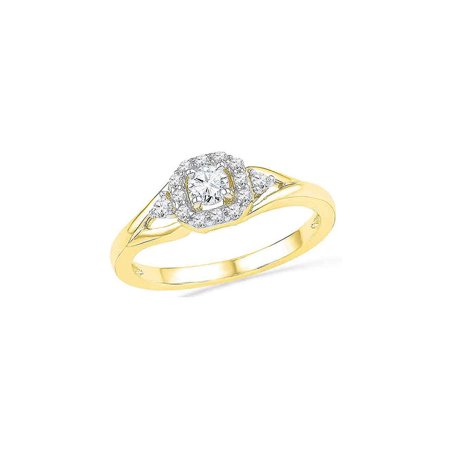 10kt Yellow Gold Womens Round Diamond Solitaire Bridal Wedding Engagement Ring 1/3 Cttw - image 1 of 1