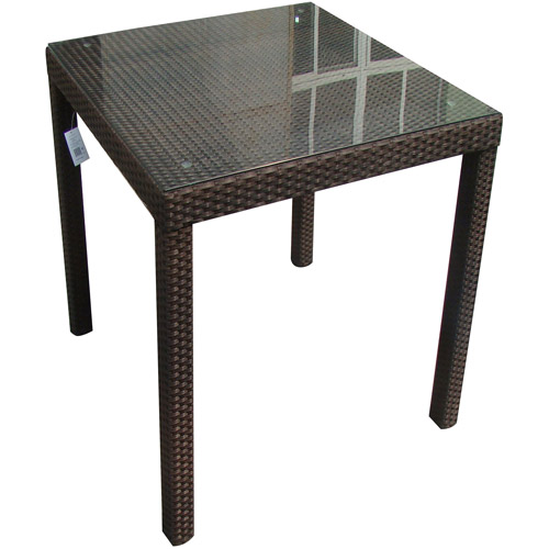 Monza All-Weather Synthetic Wicker Square Bar Table, Brown