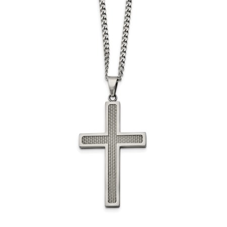 Stainless Steel Polished Grey Carbon Fiber Inlay Large Cross 20in Necklace SRN1410
