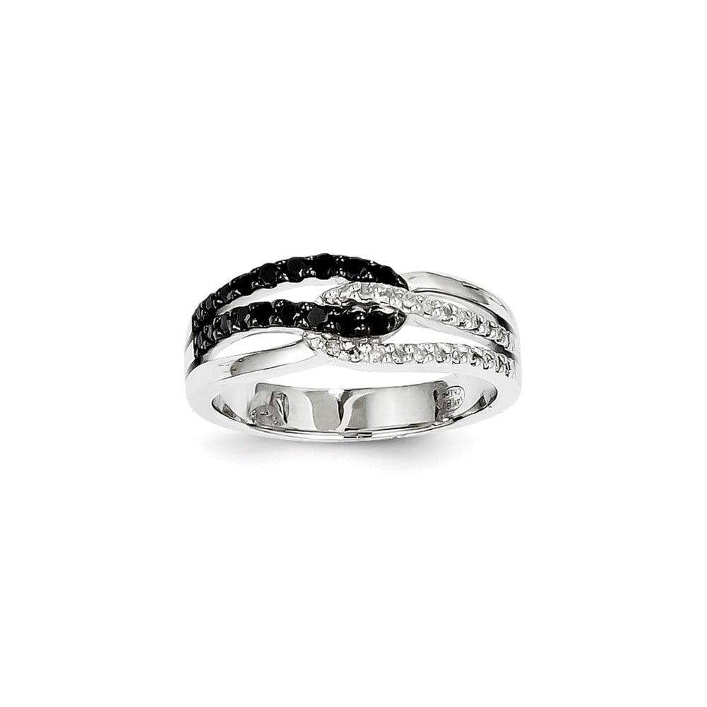 14K White Gold White & Black Diamond Ring. Carat Wt- 0.33ct