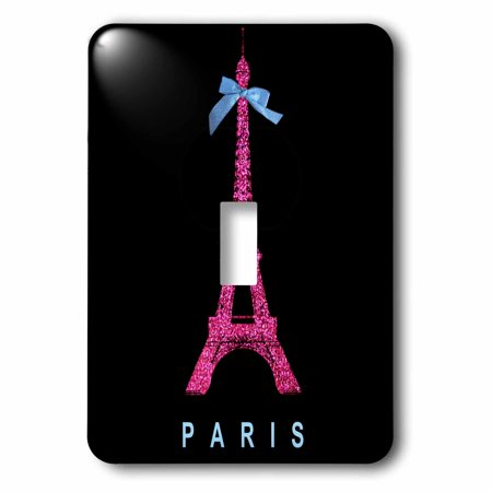 3dRose Hot Pink Paris Eiffel Tower from France with girly blue ribbon bow - Black Stylish Modern France, 2 Plug Outlet Cover ()