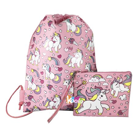 Unicorn Drawstring Backpack Girls Princess Swim Kids Sling Party Bag W/ Wallet Pink - Princess With A Backpack