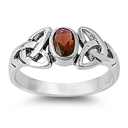 Wicca Pagan Triquetra Simulated Garnet Cubic Zirconia Ring Sterling Silver 925