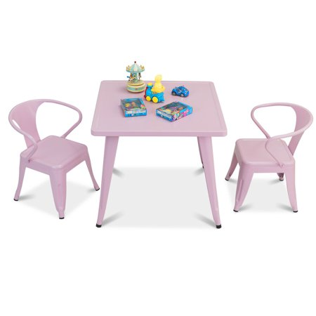 Gymax 3 Pcs Kids Dining Set Square Table & 2 Tolix Armchairs Play Learn Activity Home - image 10 de 10