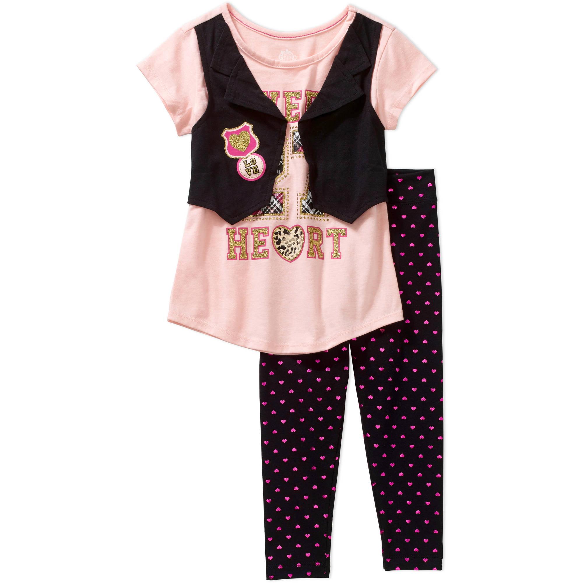 365 Kids from Garanimals Girls' Short Sleeve Twofer Vest Tee and Foil Print Legging, Outfit Set