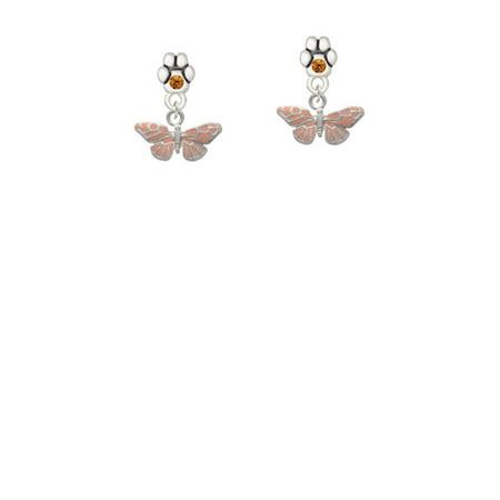 Small Butterfly Earrings - Small Pink Butterfly - Yellow Crystal Paw Earrings