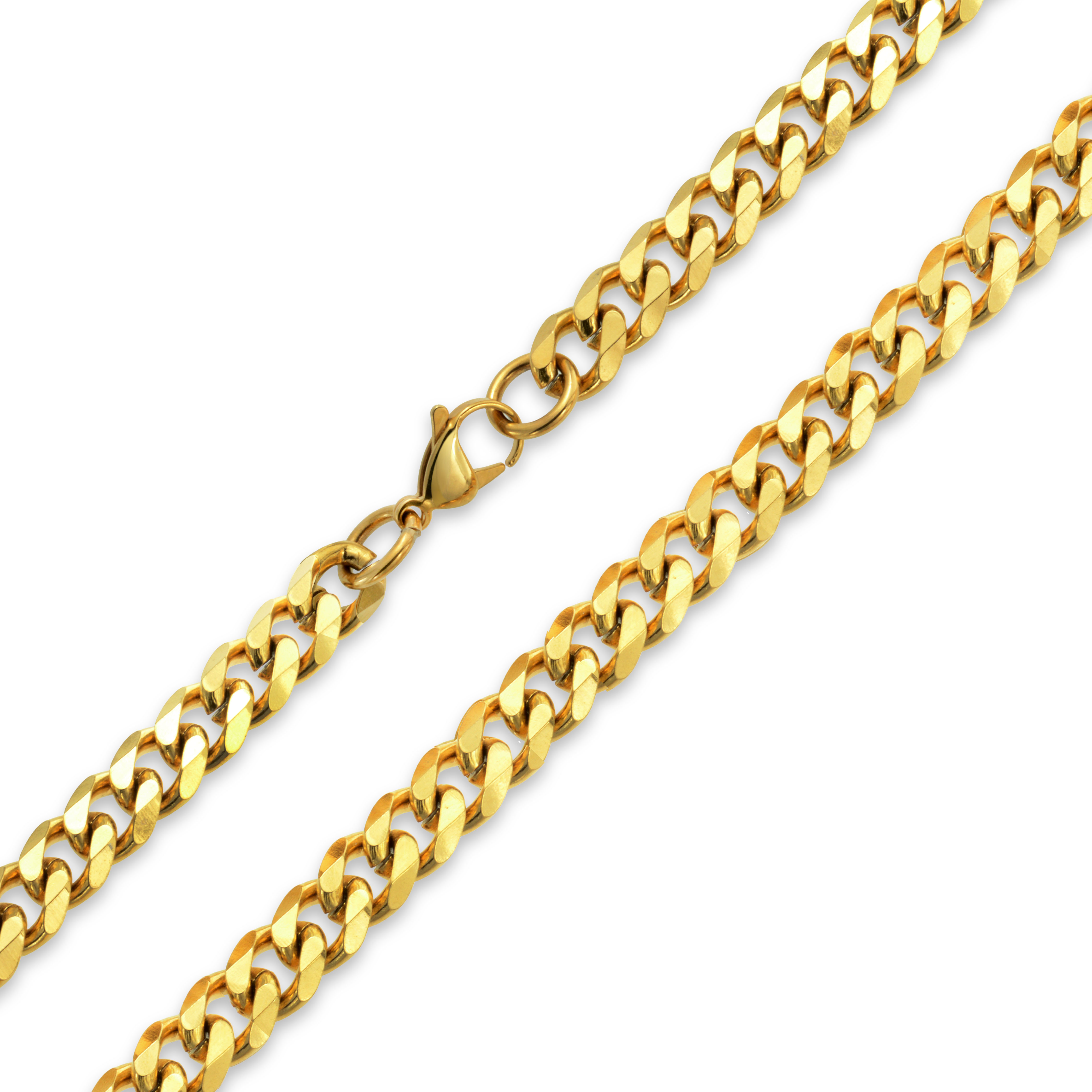 Mens 10mm Gold Plated Curb Cuban Chain