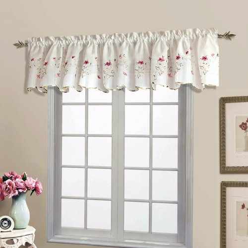 United Curtain Loretta Embroidered Voile Valance