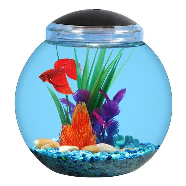 Aqua Culture 1 Gallon Globe Fish Bowl With Led Light Walmart Com Walmart Com