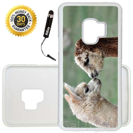 Custom Galaxy S9 Case (Cute Lovely Alpacas) Edge-to-Edge Rubber White Cover Ultra Slim   Lightweight   Includes Stylus Pen by Innosub