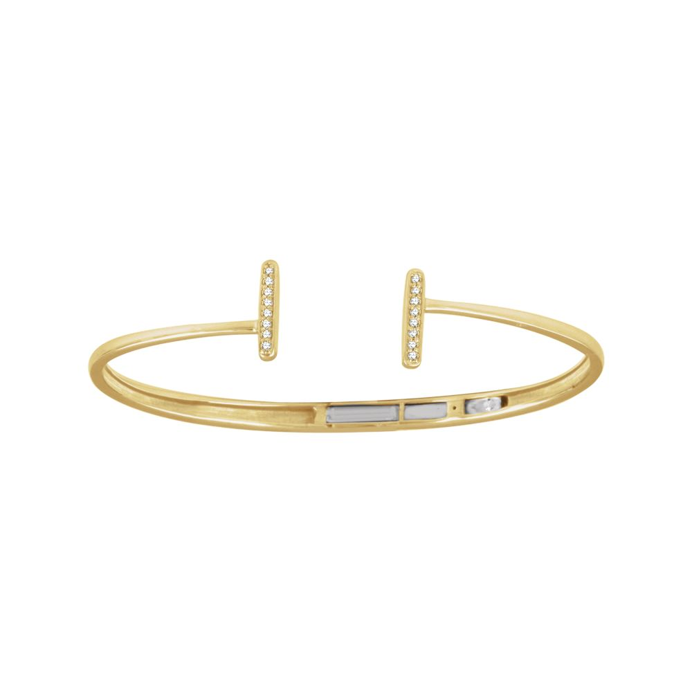 1 6 CTW Diamond Bar Hinged Cuff Bracelet in 14K Yellow Gold by