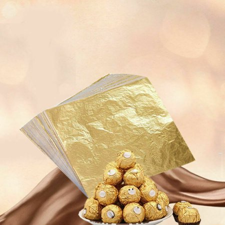 AkoaDa 100pcs Chocolate Square Foil Wrappers Gold Color Gift Packaging Gadget Item Foil Chocolate Wrappers