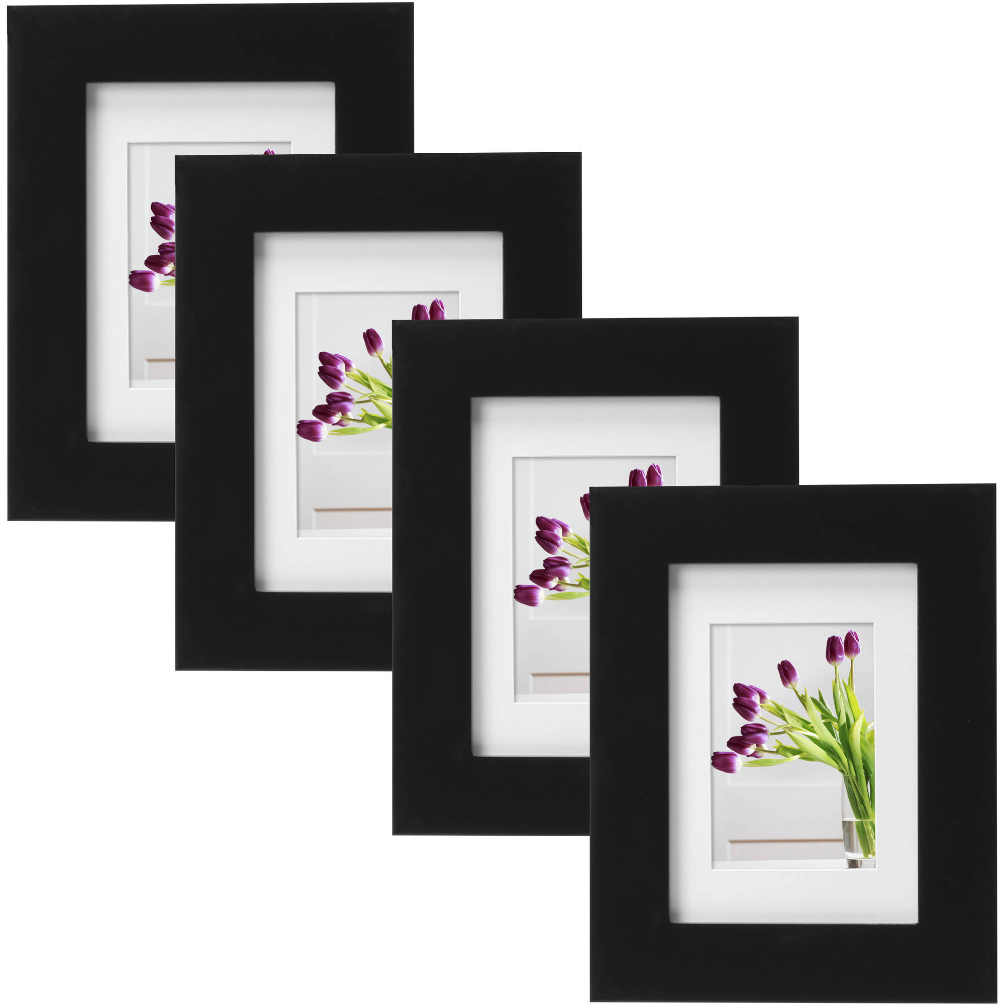 "Mainstays Museum 5"" x 7"" Matted to 3.5"" x 5"" Picture Frame, Black, Set of 4"