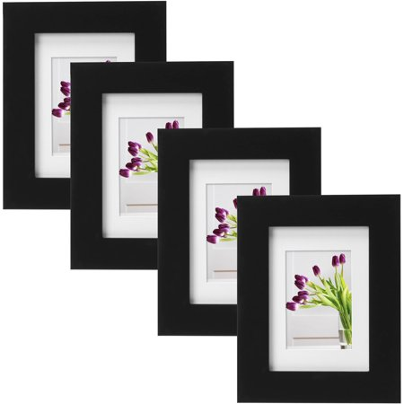 mainstays museum 5 x 7 matted to 3 5 x 5 picture frame black set of 4. Black Bedroom Furniture Sets. Home Design Ideas