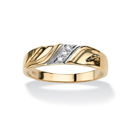 Palm Beach Jewelry Men's Diamond Accent 18k Gold over Sterling Silver Diagonal Wedding Band (18k Gold Gents Ring)