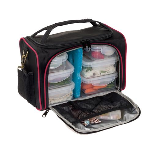 LISH Black/Red Meal Management Bag Prep System w/ Portion Control Containers