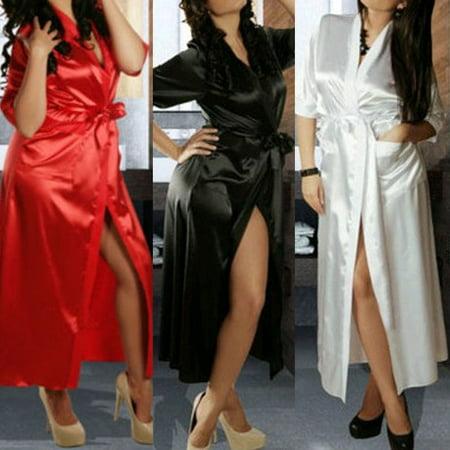 Womens Dressing - Women Luxury Nightdress Satin Kimono Sleepwear Lingerie Dressing Gown Robe
