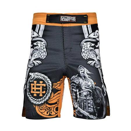 Extreme Hobby Men's Ragnarok Viking Grappling Shorts MMA Black/Gold ()
