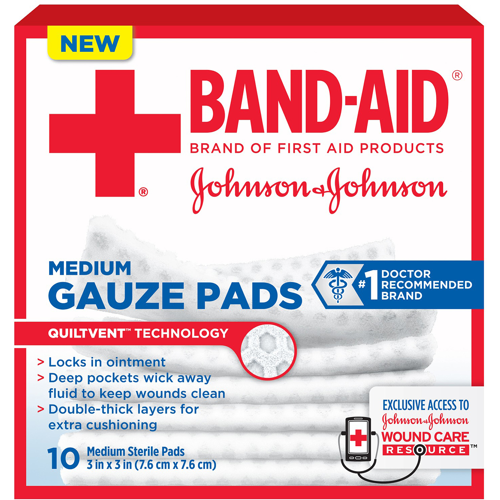 Band-Aid Brand Medium Gauze Pads, 3 Inches by 3 Inches, 10 Count