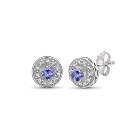 1/5 Carat T.G.W. Tanzanite and White Diamond Accent Sterling Silver Stud Earrings