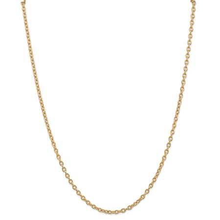 14kt Yellow Gold 3.2mm Link Cable Chain Necklace 24 Inch Pendant Charm Round Fine Jewelry Ideal Gifts For Women Gift Set From Heart