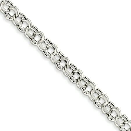 14K White Gold Lite 5.5mm Double Link Charm Bracelet - image 2 of 2