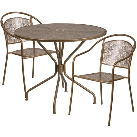 Flash Furniture Steel 3 Piece Round Indoor Outdoor Bistro Set Multiple Colors