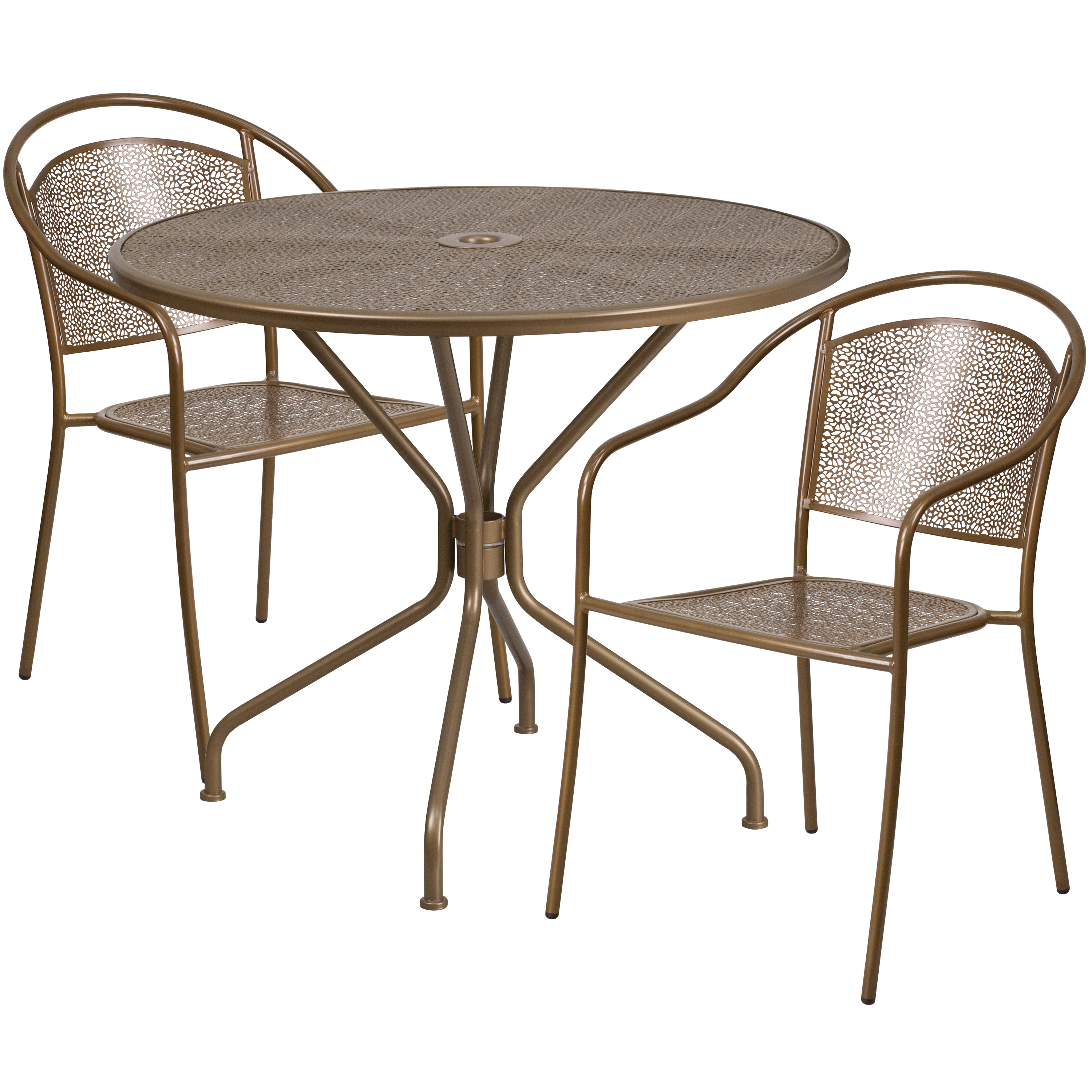 """Flash Furniture 35.25"""" Round Indoor-Outdoor Steel Patio Table Set with 2 Round Back Chairs, Multiple Colors"""