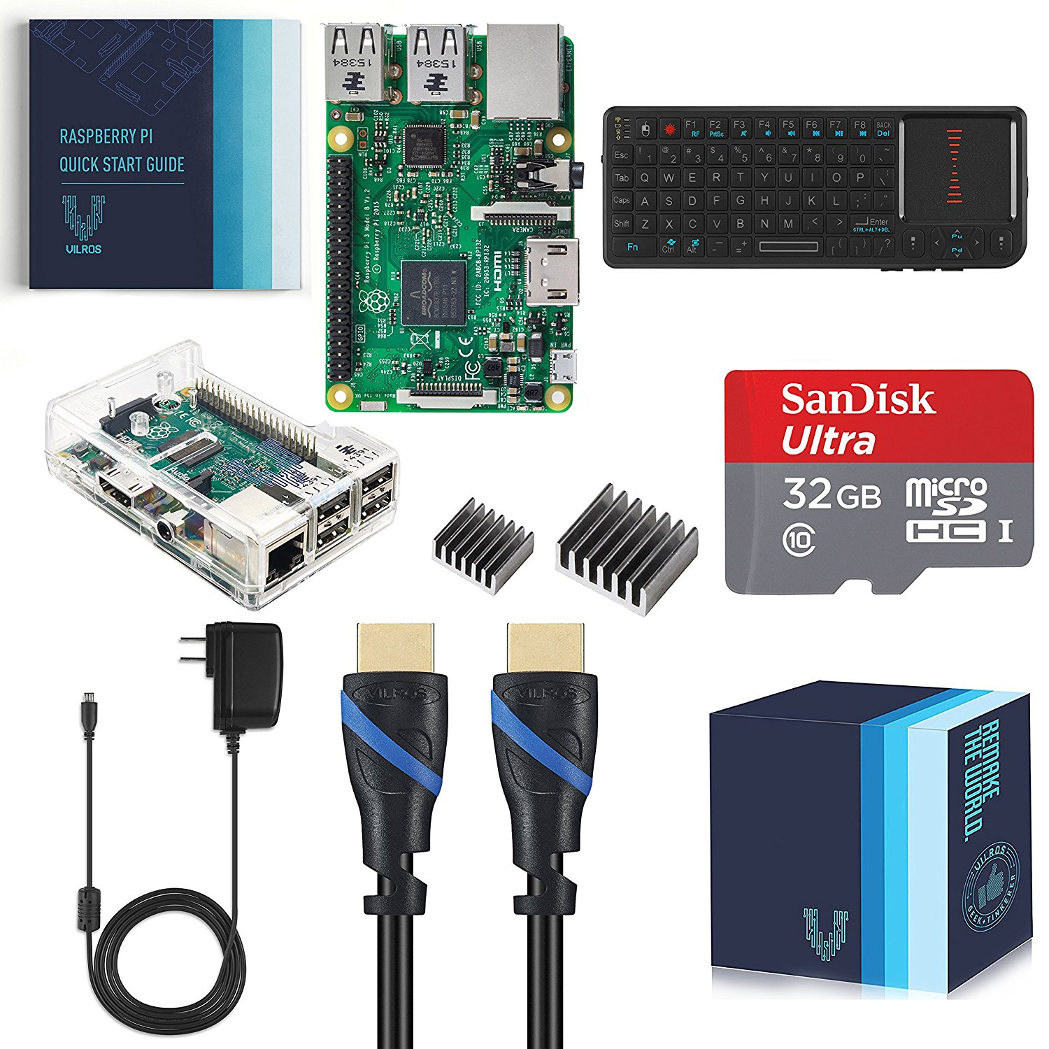 Raspberry Pi 3 Model B Complete Starter Kit with Keyboard--Clear Case Edition by